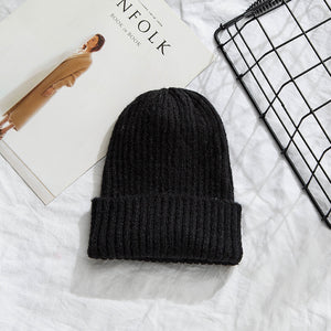 Beanies Women 2019 New Solid Knitted Warm Soft Trendy Hats Simple Korean Style Womens Wool Casual Caps Elegant All-match Beanie