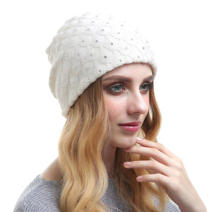 Beautiful Knit Beanie Diamond Lattice Rhinestone Warm Hats For Girls 2018 High-end Fashion Womens Cashmere Winter Hat For Women