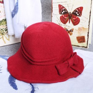 Beautiful New Arrival Adjustable Women's Butterfly Hat Fashion Fisherman Cap Winter Girls Grey Red
