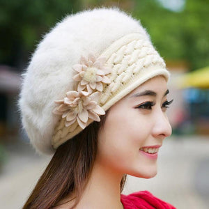 Beautiful Women Winter Fur Hat Cap Flowers Knitted Bonnet Warm Beanies Lady Headgear For Girls Mother's Gift