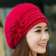 Load image into Gallery viewer, Beautiful Women Winter Fur Hat Cap Flowers Knitted Bonnet Warm Beanies Lady Headgear For Girls Mother's Gift