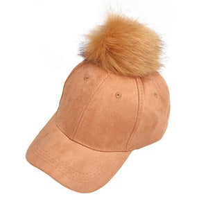 Beautiful cheap New Women Raccoon Fur Ball Hip Hop Fashion Casual Baseball Cap dad hats for men gorro feminino sombrero hombre