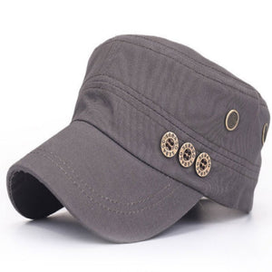 Beige Black Blue Khaki Gray Adjustable Women Men Cotton Vintage Flat Military Hats Gorras Vintage Militar Cap Bone With Button