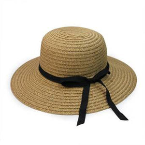 Be Price Foldable Womens Girls Sweet Bowknot Wide Brim Floppy Summer Straw Sun Hat Beach Cap (Lig Brown)