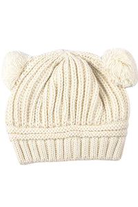 Be Sale Beige Korean Baby Love Dual Ball Girls/Boys Wo knit sweater Cap Winter Hat