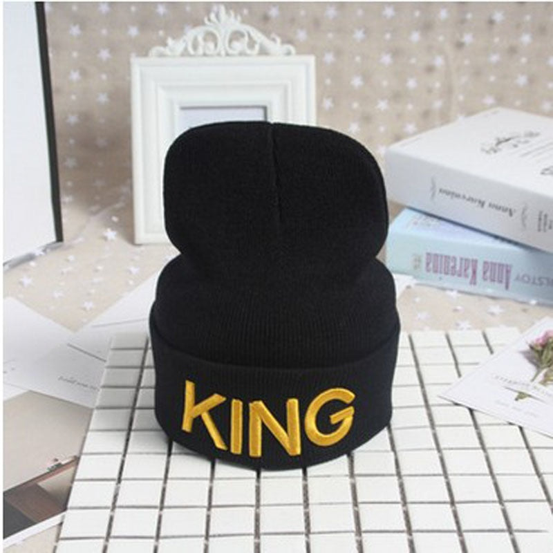 Winter Hats Cap Men Women Stocking Hat Beanies King Queen Knitted Hiphop Hat Female Couple Warm Winter Cap BLACK