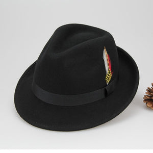Black Australian Wo Feather Fedora Hat For WOmen Ladies Floppy Jazz Pilbox Hat British Vintage Female WINTER Autu Wo Hat