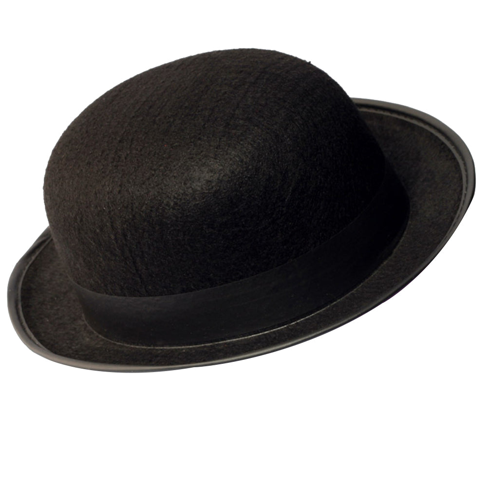 Black Bowler Hat Magicians Hat Dress Up Costume Accessory for Men Adult Fancy Dress Party