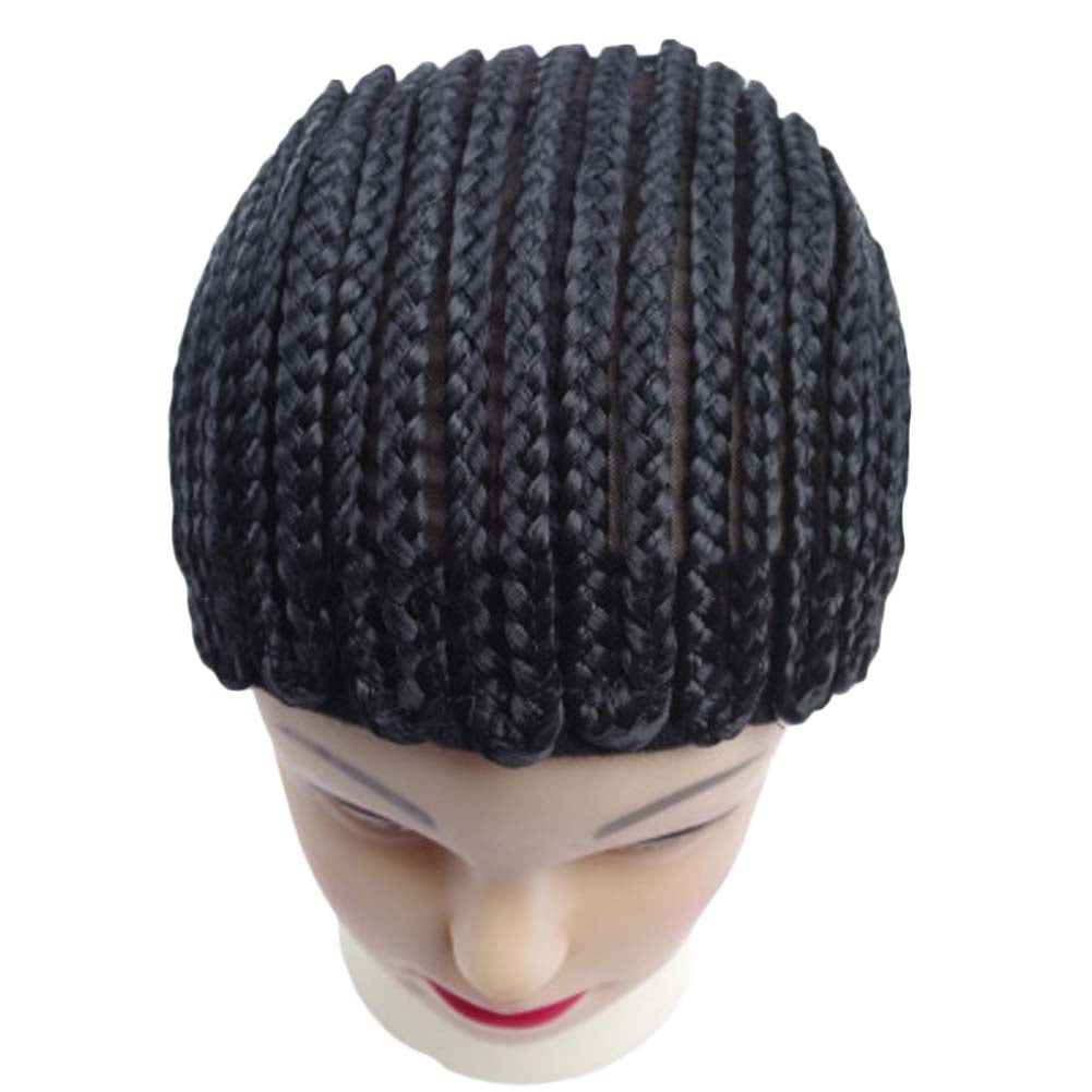 Black Cornrow Braided Wig Caps For Women Top Quality Easy Sew Wig Cap For Making Wigs With Adjustable Strap Mesh Cap