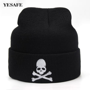 Black Knitted Beanies With Embroidery Hat 2018 Men Women Winter Hat Girls Cap Unisex Beanies Warm Hat For Boys