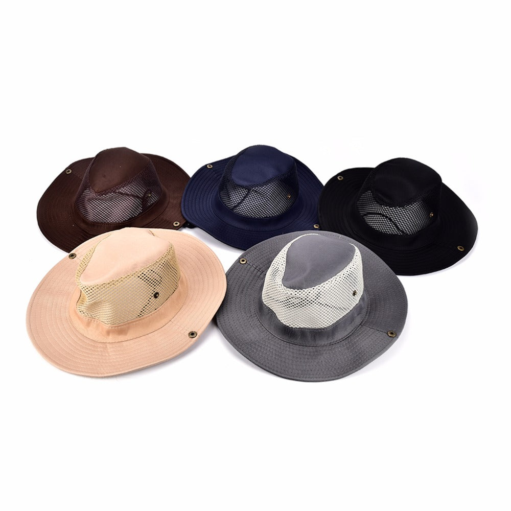 Black,Navy,Coffee,Grey, Khaki Outdoor Polyester Sport Hiking Wide Brim Bucket Hat Camping Sunscreen Hat Co Sun Hat