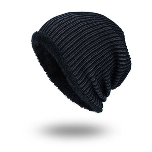 7a6b9980cefbf Black Sports Knit Winter Hats for Men Skullies Beanie Warm Thicken Wo  Striped Crochet Beanies Hat Male Outdoor Ski Hat Mens