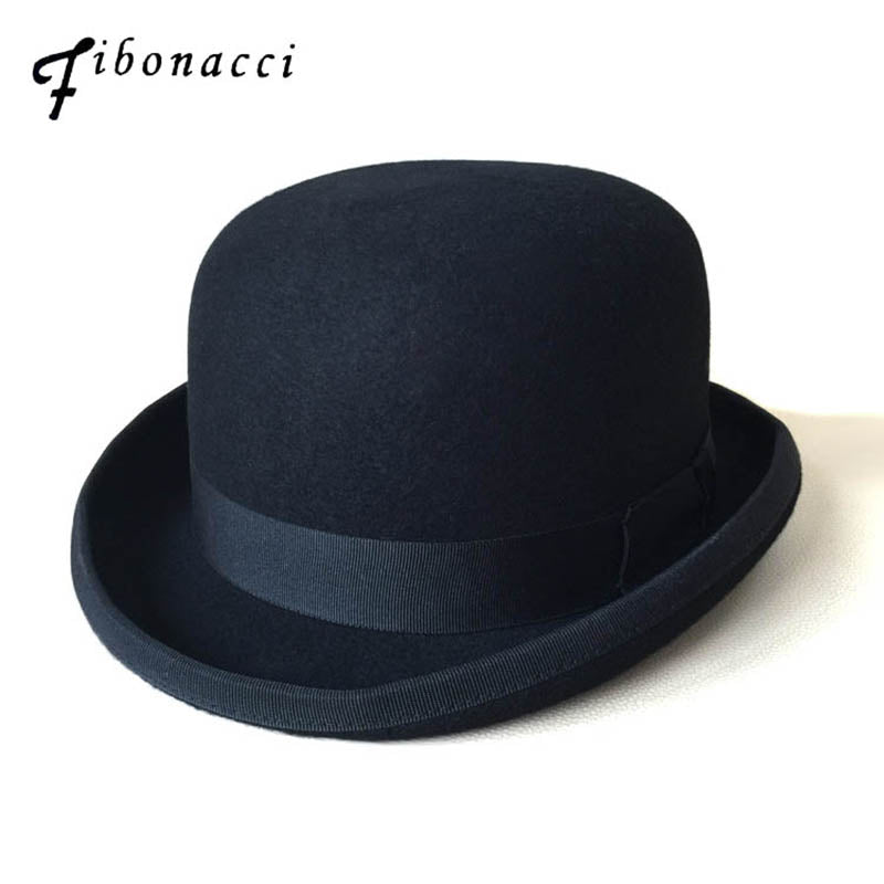 Black Steampunk Victorian Formal Dome Hat Wo Felt Vintage Magician Fedoras Mad Hatter President Bowler Hat