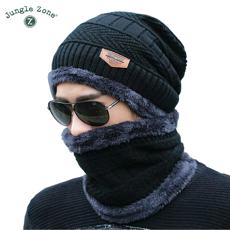 Black hat scarf two-piece cap Neck warm winter hat knitted Caps men Caps men's knitted cap Fleece Knit hats Skullies Beanies