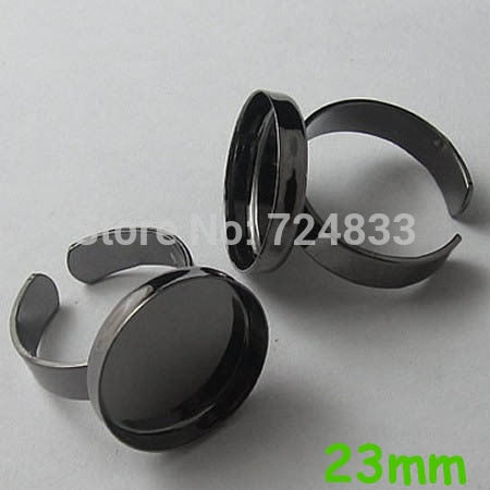 Blank Bezel Ring bases w/ Inner 23mm Round Deep wall cups tray Glass Cabochon Brass Open Ring Settings Findings Gunmetal black