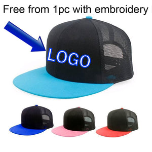 a9a5b025a59bc Blank Custom Baseball caps Supports LOGO Embroidery Mesh hats Candy-color  snap back Black Net Sun cap Peaked hat