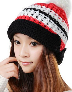 Trendy Fashion Curling Mosaic Color Winter Warm Women Knitted Hat Lady Beautiful Handmade Beanie Ear Muff Cap Hats