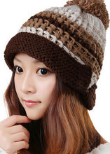 Load image into Gallery viewer, Trendy Fashion Curling Mosaic Color Winter Warm Women Knitted Hat Lady Beautiful Handmade Beanie Ear Muff Cap Hats
