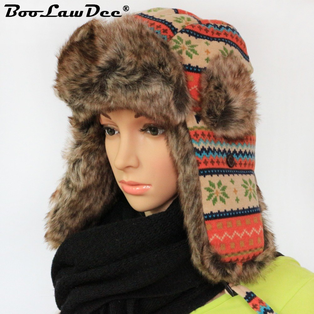 560239251dd Boolawdee winter man knitted fabric aviator hats russian adult ear flaps  floral pattern bomber caps jpg