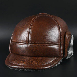 Men leather warming bomber cap ear protection for winter leisure male hat black brown size L XL XXL solid color M271