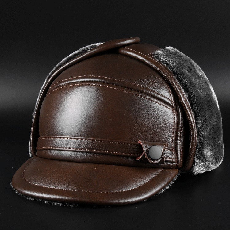 men cowskin bomber dad cap winter warming male earflag father hat black brown size 55-60cm solid color M261