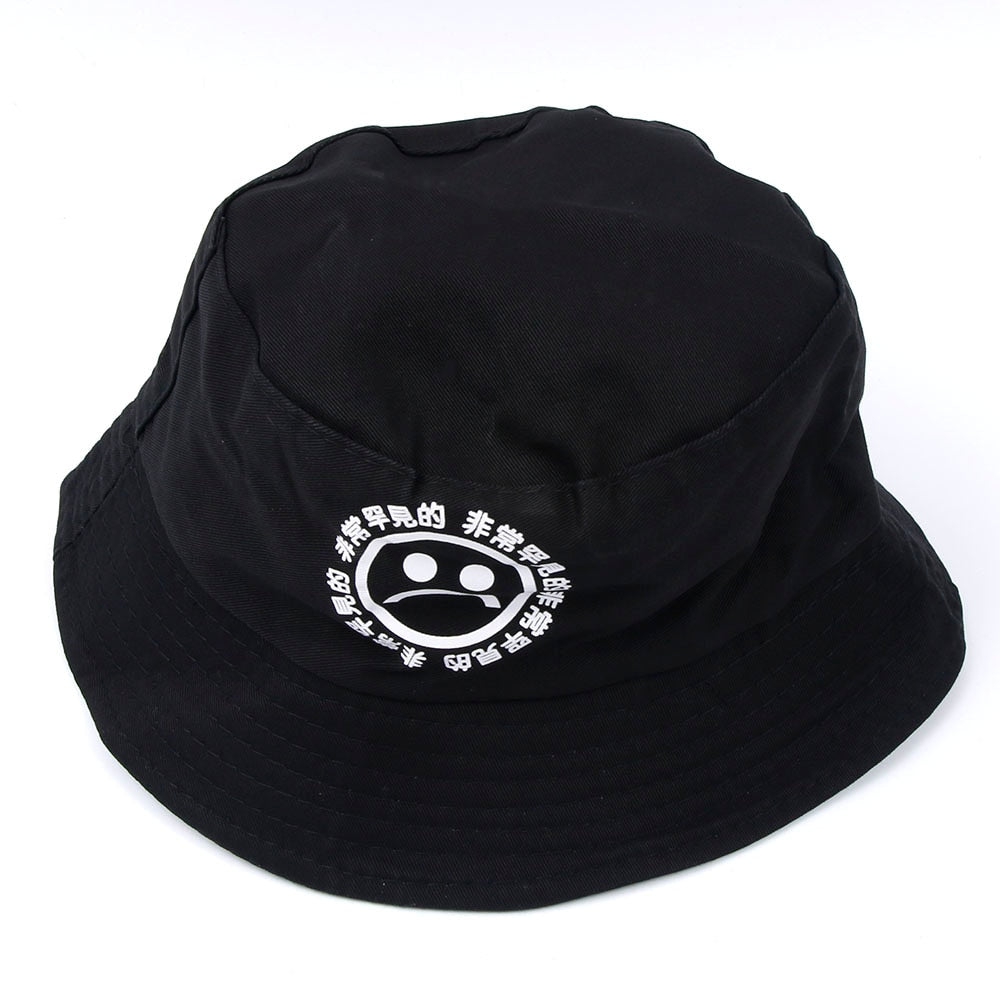 Boonie Flat Fishman Hat Summer KYC Vintage Black Bucket Hat Sad Boys Men  Women Hip Hop Fishing Cap Sprots Chapeau Panama Sunhat e1c83073eab