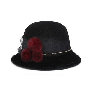 Brand  Keep Warm Winter Autu Cap Women Ladies Fedoras Top Jazz Hat Thicken Imitation Woolen Bowler Hats Round Caps