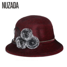 Load image into Gallery viewer, Brand  Keep Warm Winter Autu Cap Women Ladies Fedoras Top Jazz Hat Thicken Imitation Woolen Bowler Hats Round Caps
