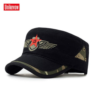 Brand Military hats with Star Embroidered Adjusted baseball cap Flat top Hat  for men and women 1119c35f9d8