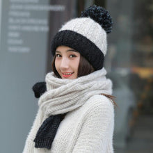 Load image into Gallery viewer, Brand Winter Color matching Hat Scarf Knitted Hat Skullies Beanies women Winter Gorros For women Caps Wo Cap Female