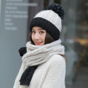 Brand Winter Color matching Hat Scarf Knitted Hat Skullies Beanies women Winter Gorros For women Caps Wo Cap Female