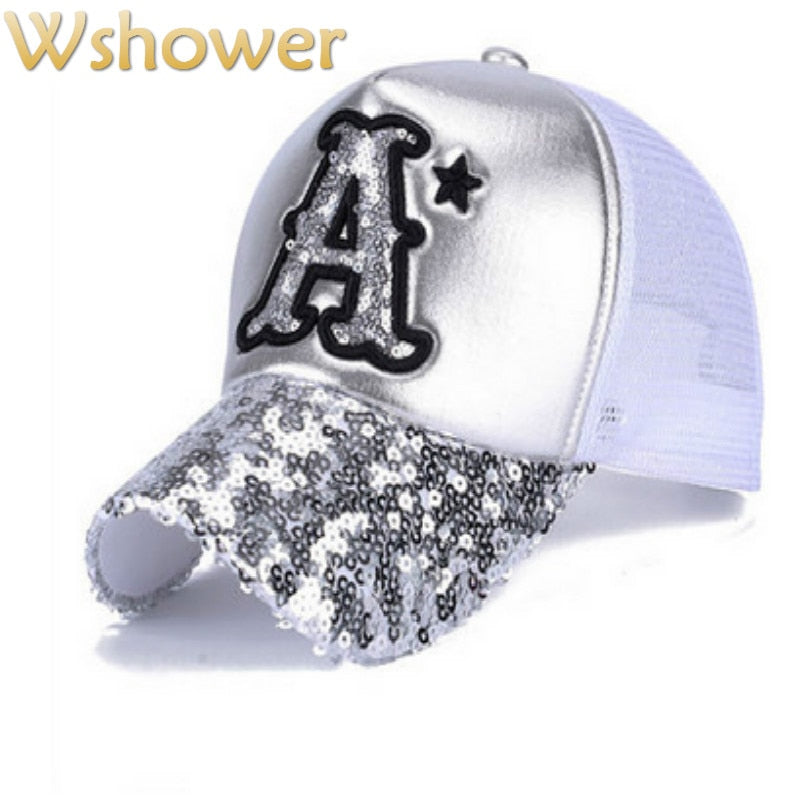 Breathable Mesh Sequins Bling Baseball Cap Hip Hop Adjustable Curved Letter A Summer Women Hat Quick Dry Sun Hat Casquettes Bone