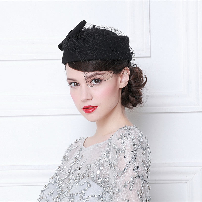 British Women Winter Australian Wo Top Fedora Fashion White Black Bowler Veil Beret Formal  Ladies Church Dinner Chapeau Hat