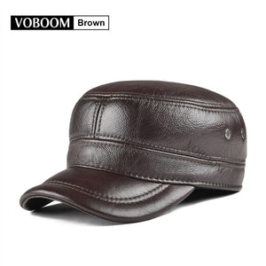 Brown Genuine Leather Cap Men Winter Warm Ear Protection Army Hat Adjustable Male Military Caps 21