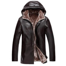 Load image into Gallery viewer, Brown Leather Jacket Mens Hooded Fur Lining Luxury Fur Clothing Leather Men's Business Jacket Winter Long Overcoat