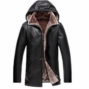 Brown Leather Jacket Mens Hooded Fur Lining Luxury Fur Clothing Leather Men's Business Jacket Winter Long Overcoat
