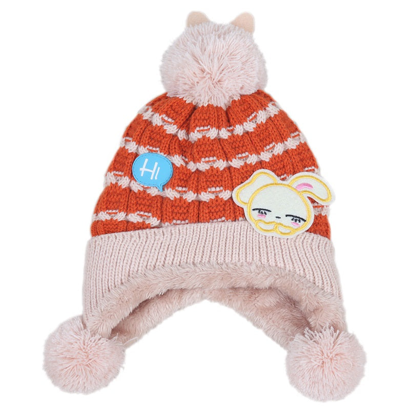 Bunny plus cashmere children hat autumn and winter new baby hat ball baby hat baby ear cap beige