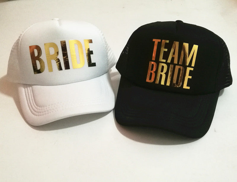 C&Fung Bride t bride hats golden printing Bachelorette Hats Women Wedding Preparewear Trucker Cap free shipping