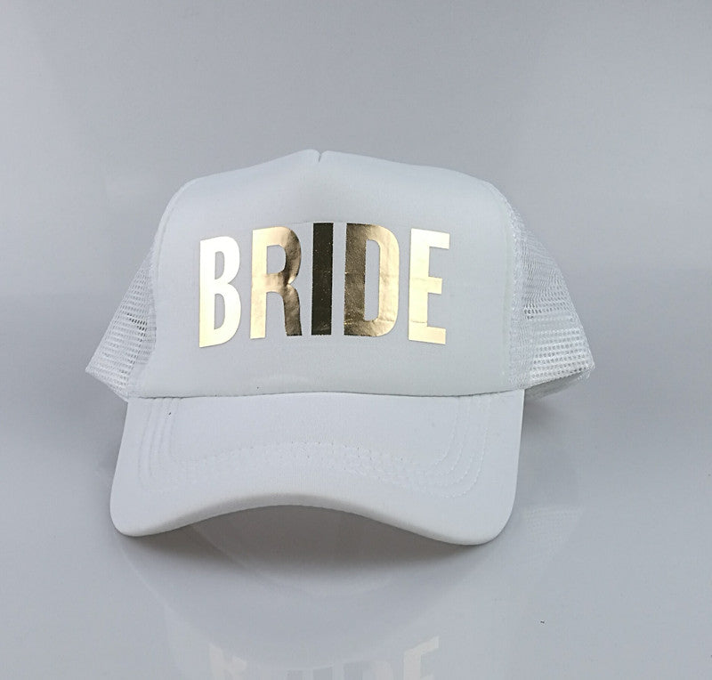C&Fung SQUAD BRIDE T BRIDE trucker hats basebal Caps for wedding party gold glitter pink mesh hats Summer style