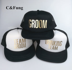 C&Fung T BROOM DRINKING T trucker hats flat brim hip hop Caps hats for party Wedding Preparewear golden print mesh hat