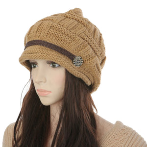 Fashion Warm Women Hats Manual Wo Knitted Earmuf Girls Caps Thick Crimping Strap Female Cap Female Hats Autumn Winter