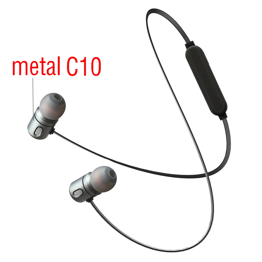 C10 Bluetooth Earphone wireless Headphones Bluetooth sports Running Metal Magnet Headsets For iPhone  iphone Ipad
