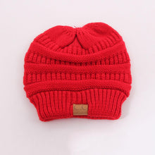 Load image into Gallery viewer, CC Fashion Ponytail Beanie Winter Hats For Women Crochet Knit Cap Warm Caps Female Knitted Stylish Hat Ladies Skullies Beanies