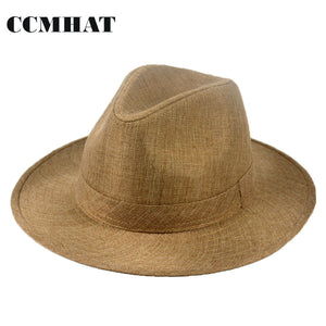 Fedora Hat For Woman Beige Wide Brim Summer Beach Sun Hat Polyester Fedora Hats  Caps For c125745f655