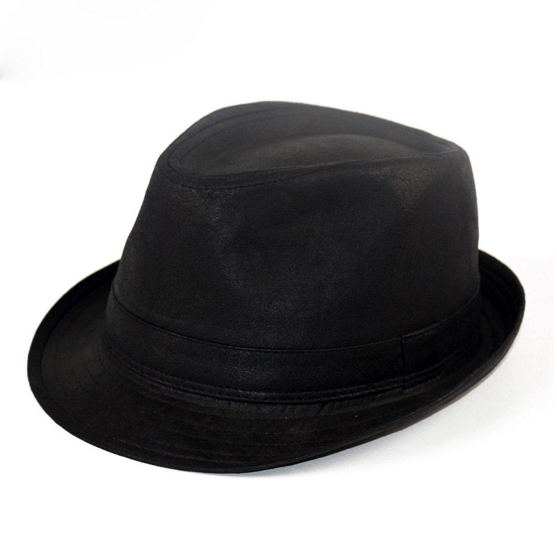Leather Fedora Hats For Men Summer Casual Black Adult Women Fedoras ... c50e4ef818d