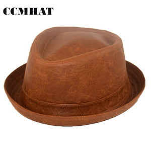 Leather Fedora Hats For Men Summer Casual Black Adult Women Fedoras Hats Chapeu Feminino Vintage Church Sun Hat For Women