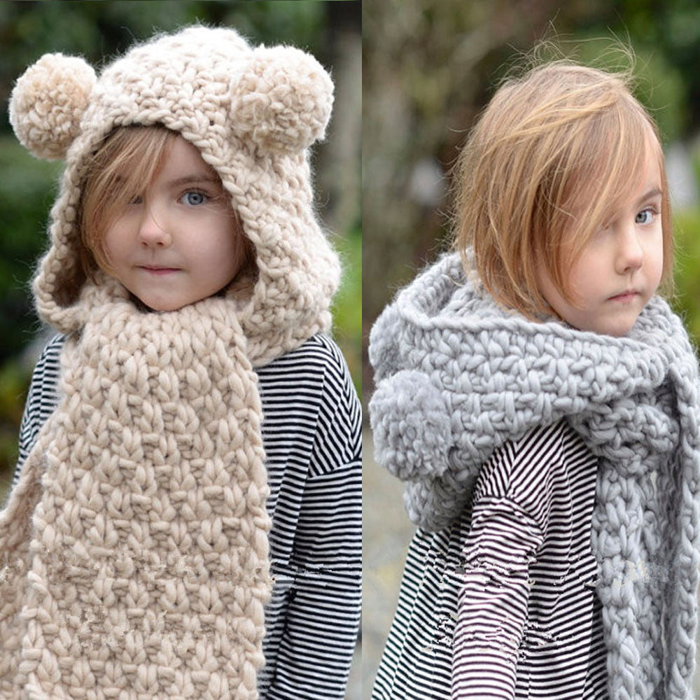 Gray Beige Double ball Dual useWinter Wo Knitted Double Ball Hats Baby Girls Shawls Hooded Cowl Beanie Scarf ag2 P30