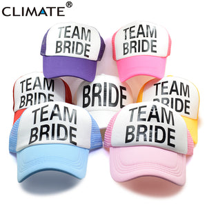 Bride T Bride Bridesmaid Women Wedding Mesh Caps Hat Bachelorette Summer Trucker Caps White Neon Mesh Hat