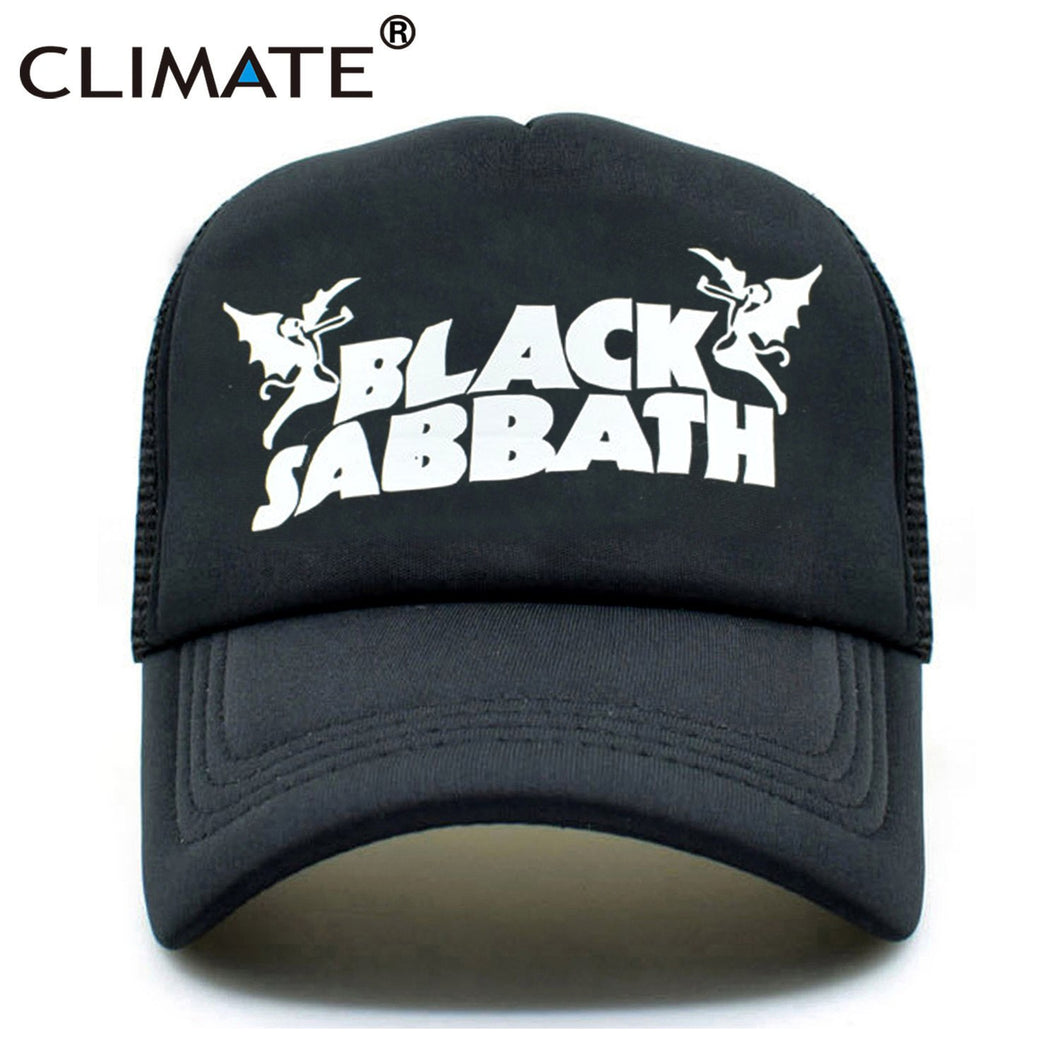 Men Women Trucker Caps Black Sabbath  Caps Co Summer Heavy Metal  Music Band Baseball Mesh Net Trucker Cap Hat