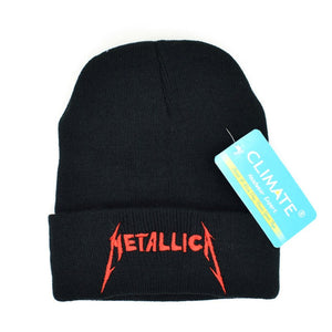 Men Women Winter Warm Beanie Hat Rock Metallica ACDC Rock Band Warm Winter Knitted Beanies Hat Cap For Adult Men Women
